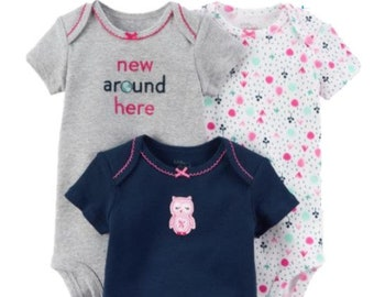 3 Pack of  Owl, ORGANIC Cotton G Tube Bodysuits, Adapted to Order