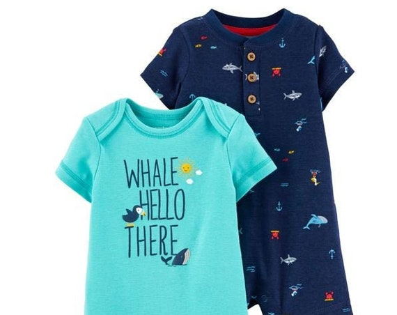 9 Month Set of 2 Whale G Tube Playsuit Romper, Adapted to Order