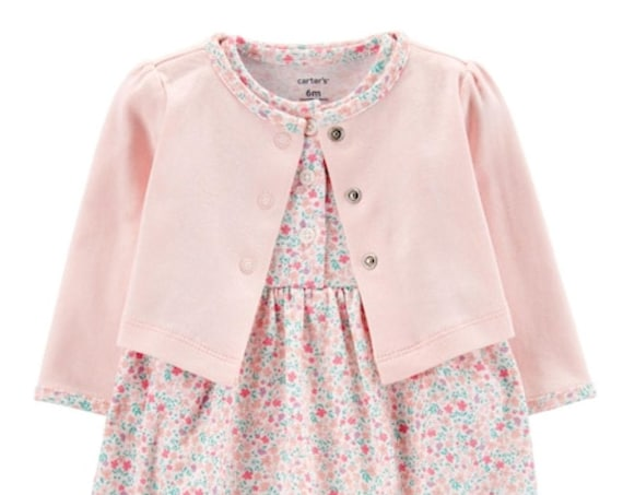 Flower G Tube Double Layer Dress/Romper/Bubble with snaps, Includes Cardigan Adapted to Order