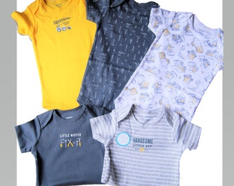 5 Pack of Construction G Tube Bodysuits, Made to Order, Size 12 Month
