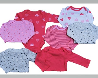 7 Pack of HEART G Tube Bodysuits, Adapted to Order