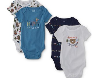 "G Tube Bodysuits, ""Grandma's Wildest Boy"" Pack of 4, Adapted to Order"