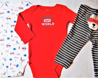 "Dog ""Watch Out World!"" G Tube Bodysuits x2 with Pants Sizes 9 Months"