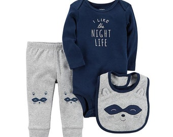 "Racoon ""I Like the Night Life"" G-Tube Bodysuit with Pants and Bib"