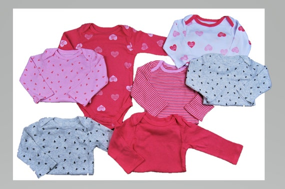 0-3 Months 7 Pack of HEART G Tube Bodysuits, Adapted to Order
