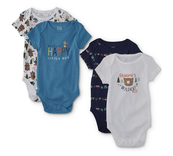 """G Tube Bodysuits, """"Grandma's Wildest Boy"""" Pack of 4, Adapted to Order"""