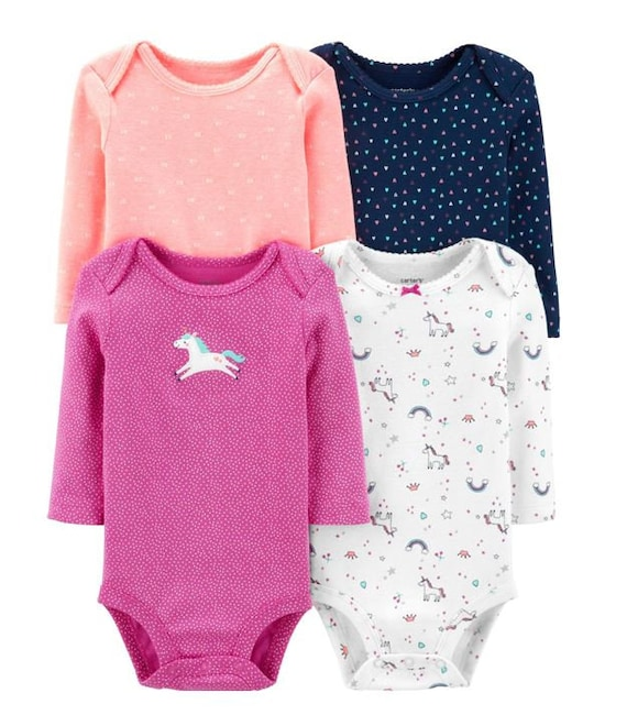 4 Pack of Unicorn Long Sleeve G Tube Bodysuits, Adapted to Order