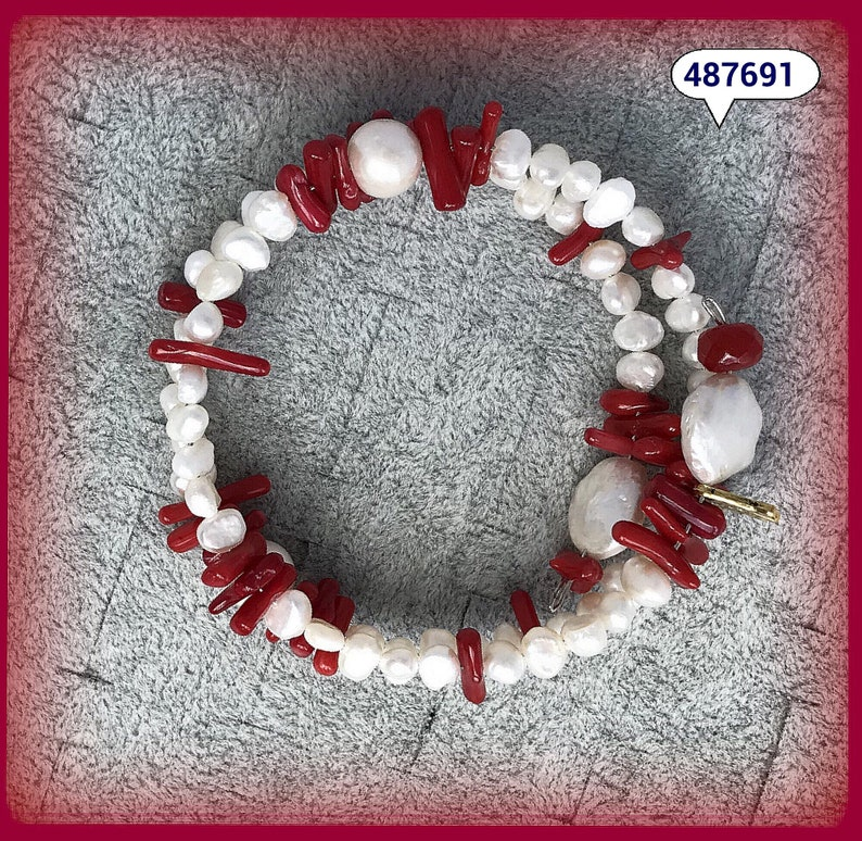 18.5\u201d Wrap Bracelet Natural PEARL /& RED CORAL Ultra Comfortable and Fully Adjustable!
