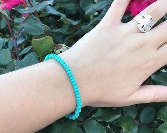 Boho Dainty Turquoise Beaded Bracelet