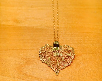 Dipped Cottonwood Leaf Pendant Necklace