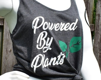 Vegan Shirt (XL Only), Vegan Tank Top, Women's Tank Top, Slouchy Tank Top, Powered By Plants, Plant Powered, Animal Rights, Activism Apparel