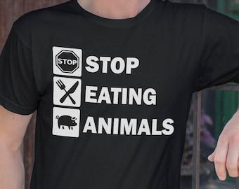 Vegan Shirt, Vegan Tshirt, Unisex Tshirt, Stop Eating Animals, Activism Apparel, Animal Rights, Black Tshirt