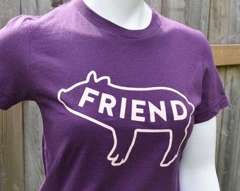 Vegan Shirt (M,L,XL), Pig Friend, Women's Tshirt, Purple Shirt, Friends Not Food, Activism