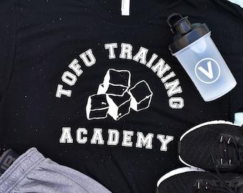 Vegan Shirt (Small, Med), Vegan Tshirt, Unisex, Fitness Shirt, Gym Shirt, Tofu Training Academy, Funny Shirt, Animal Rights, Activism