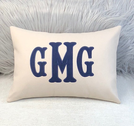 Monogram Pillow Throw Pillows Dorm