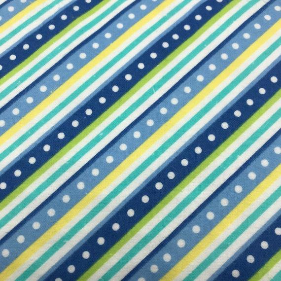 Light Blue Dots On Dark Blue Backgound Diagonal Pattern Cotton Fabric BY YARD