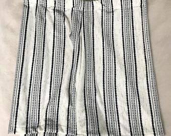 Striped Pajama shorts, Size Medium, PJ shorts, Navy Blue Patterned, Blue and White Shorts, Soft Cotton Fabric pants