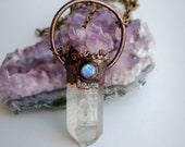 Raw Crystal and Amethyst Cluster Moonstone Necklace, Copper Electroformed Necklace, Raw Stone Necklace