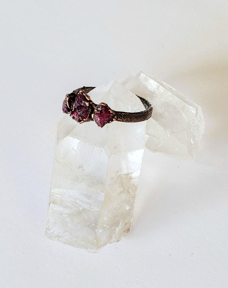 Copper Electroformed Ring Raw Ruby Triple Stone Custom Ring Raw Stone Ring