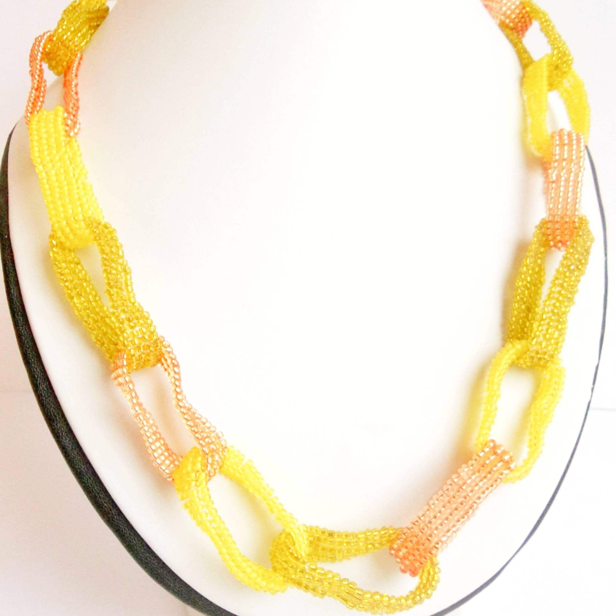 Yellow Gold Chain Seed Bead Necklace Unusual Jewelry Short Women Gift For Her Birthday Handmade