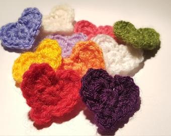 Small Crochet Heart Appliques Set of 10