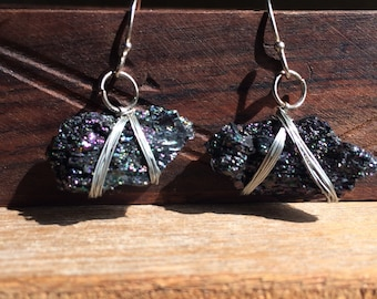 Wrapped carborundum earrings, crystal earrings, wire earrings