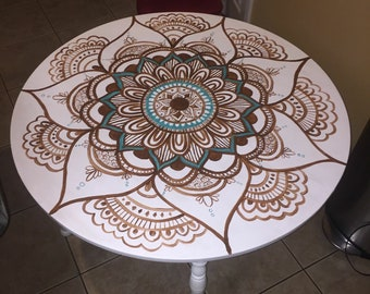4x4 Foot Mandala Custom-Painted Kitchen Table