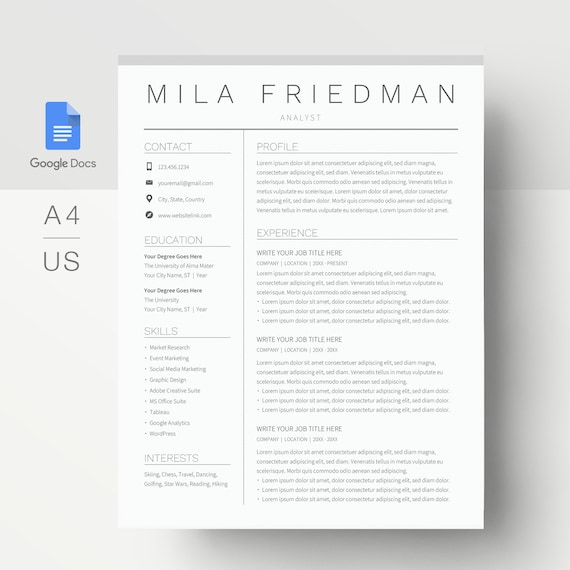 Google Docs Resume Template Simple Resume Template Google Etsy