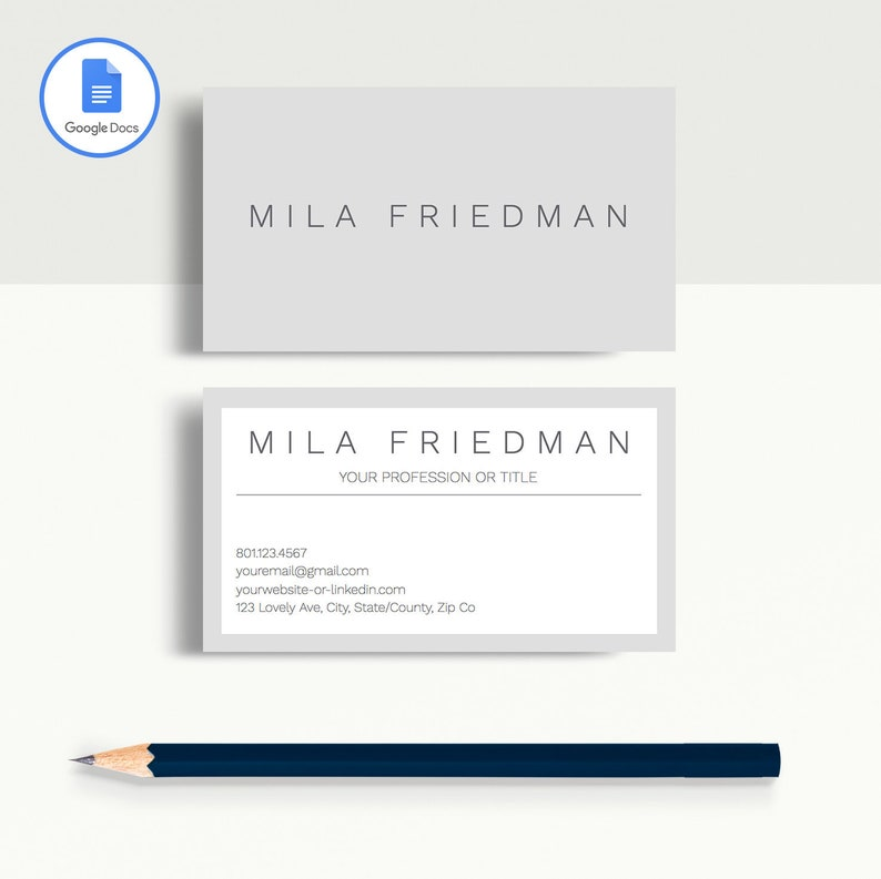 Professional Business Card Template, Printable Business Card Template,  Matching Google Docs Resume Template, Modern Business Card Design