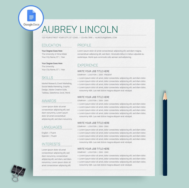 Google Docs Resume Template Instant Download Resume Template