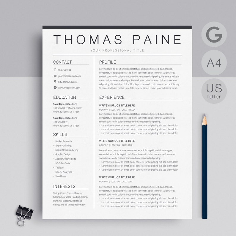 Google Docs Resume Template Instant Download | Resume Template Google Docs  or CV Design