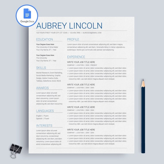 Google Resume Templates | Google Docs Resume Template Google Docs Cv Template Google Etsy