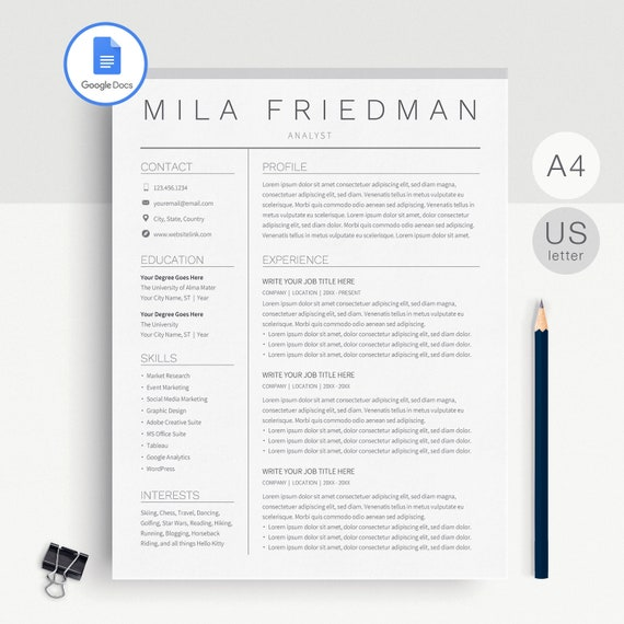 Google Docs Resume Template Google Docs Cv Template Google Docs Resume Template Instant Download Resume Template Google Docs