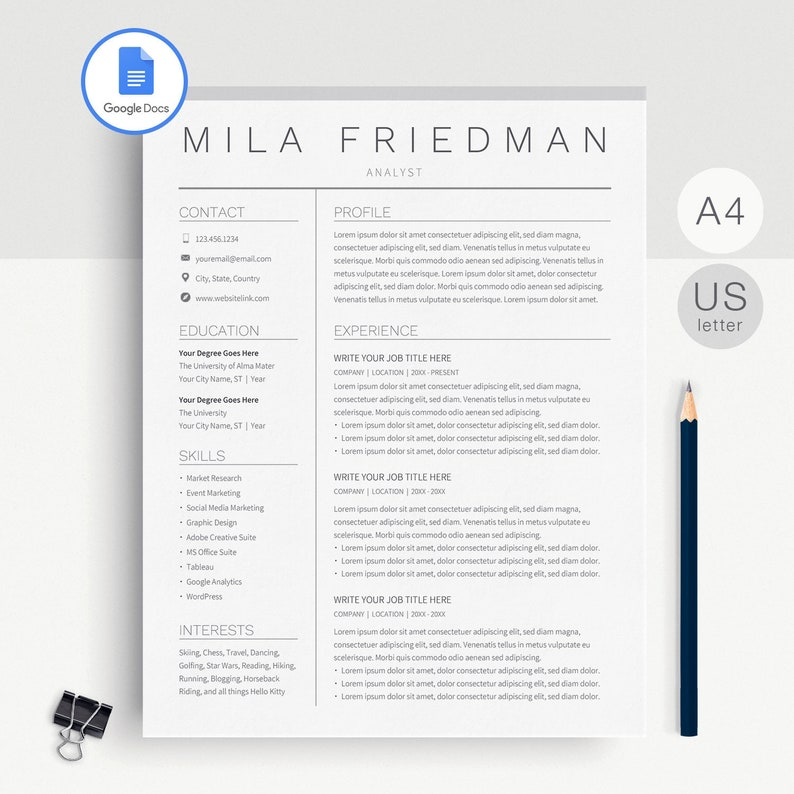 Google Docs Resume Template, Google Docs CV Template, Google Docs Resume  Template Instant Download, Resume Template Google Docs