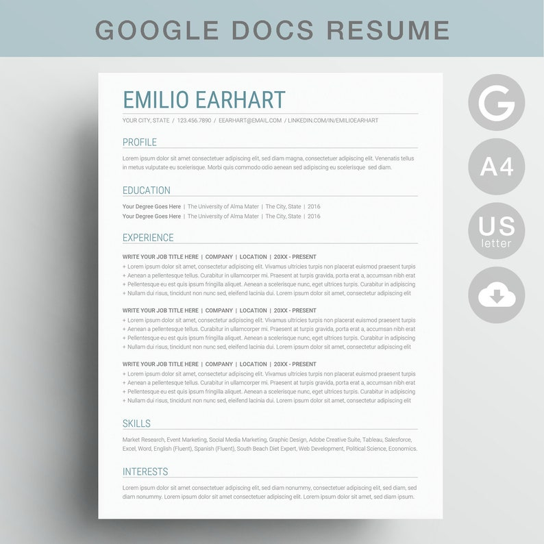Google Docs Resume Template Instant Download Resume Template Google Docs Or Cv Design