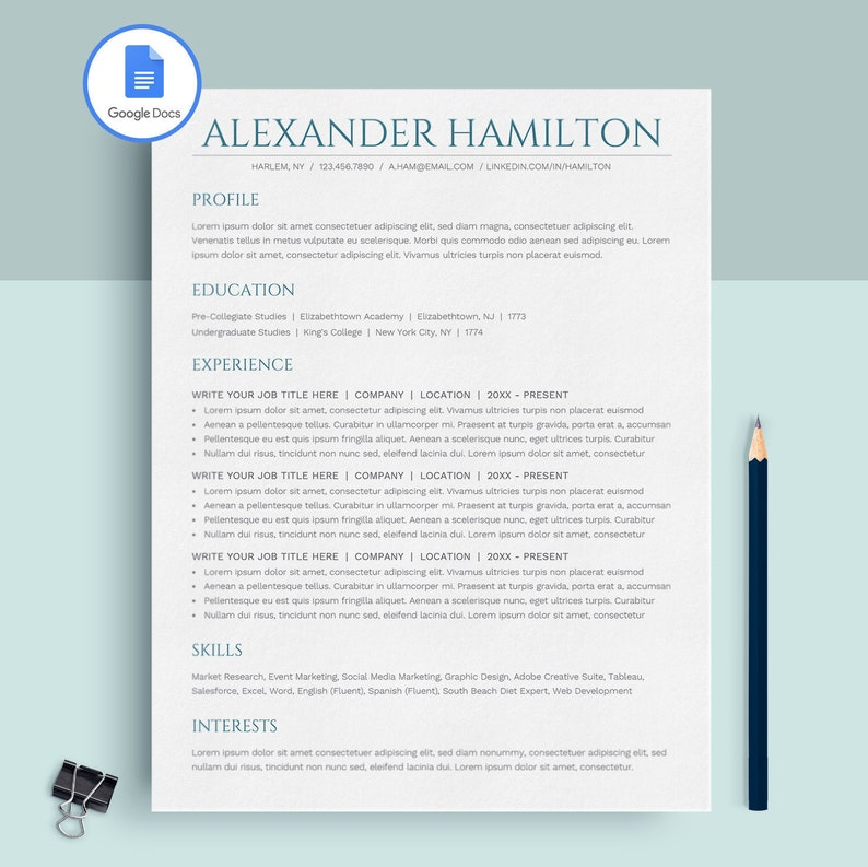Google Docs Resume Template Instant Download Resume Template Etsy