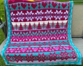 Winters Heart  - Overlay Mosaic Crochet PATTERN ONLY  - Digital Download