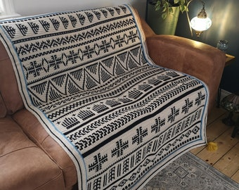 Berber Afghan - Overlay Mosaic Crochet PATTERN ONLY  - Digital Download