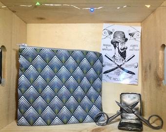Diamond print fabric pouch