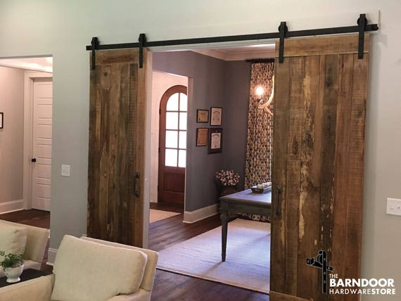 Double Sliding Barn Door Hardware Kit With Track For 2 Doors Etsy
