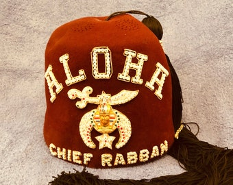 Vintage Authentic Jeweled Aloha Temple Shriner Men s Fez Hat - Free Shipping 1871cd6a9061