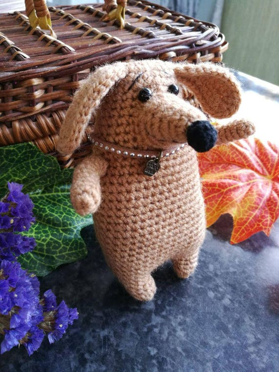 Knitted Sausage Dog Amigurumi Dachshundcrochet Weenie Dog Etsy