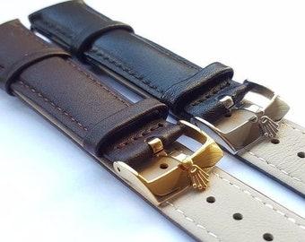 4db3333bfc1 Rolex New 18mm 19mm 20mm Black Brown Gents Genuine Leather Watch Strap For  Rolex (CH-02)
