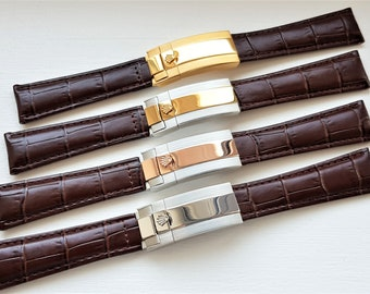 6676bc083a6 Rolex New 20mm Deployment Brown Genuine Leather Watch Strap Steel  Gold  Plated  Rose Gold Plated Buckle For ROLEX Watch