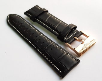 New 22mm Black Leather Watch Strap With Breitling Stamped Buckle