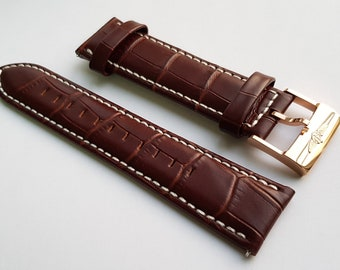 New 22mm Brown Leather Watch Strap With Breitling Stamped Buckle