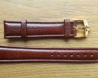 New 18mm Brown Genuine Leather Watch Strap With Omega Buckle