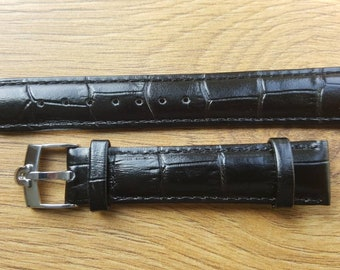 New 18mm Black Genuine Leather Watch Strap With Omega Buckle