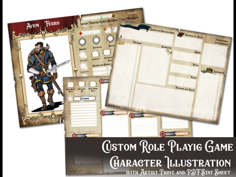 Custom RPG character illustration with Editable PDF stat card and 8 5