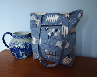 Tote shoulder bag, cotton and lined